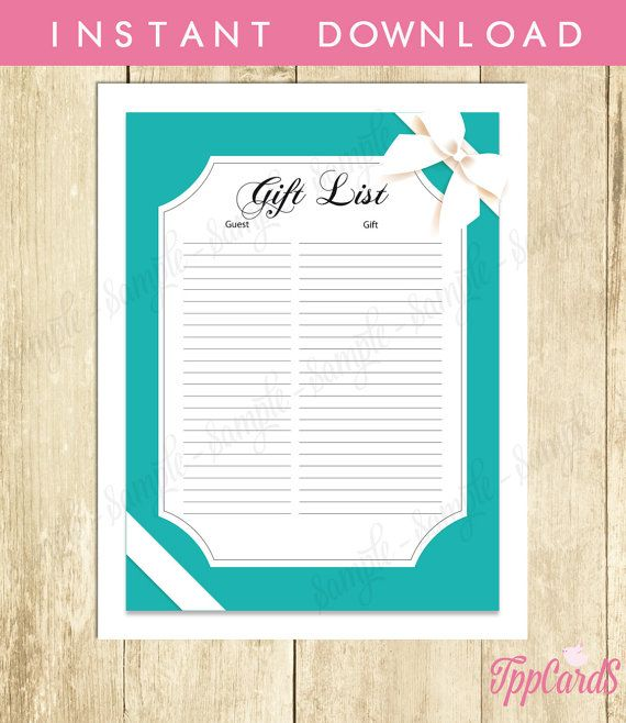 Instant Download Aqua Baby Shower Gift List Classic Blue and White Bow Baby Shower Registry for Girl or Boy Teal Baby Shower Checklist by TppCardS #tppcards
