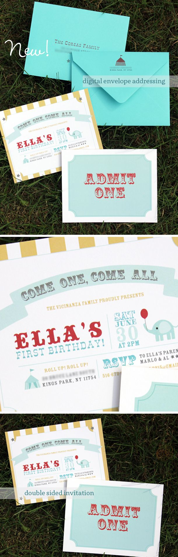 carnival themed birthday invitation with digital envelope addressing