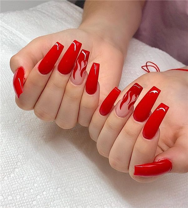 37 Red Nail Art Designs To Get Inspired In 2020 Glow Nails Red Acrylic Nails Red Nail Art Designs