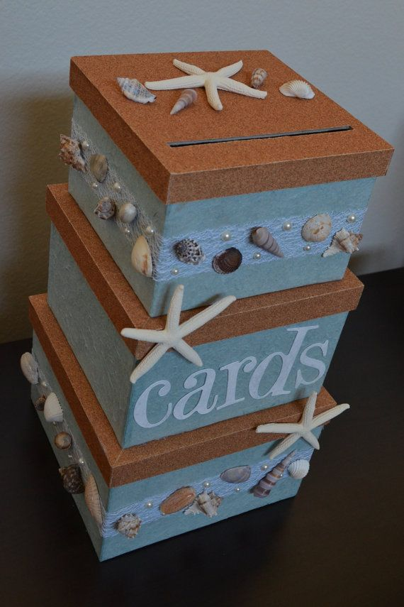 beach wedding themed wedding card box holder on Etsy, $95.00