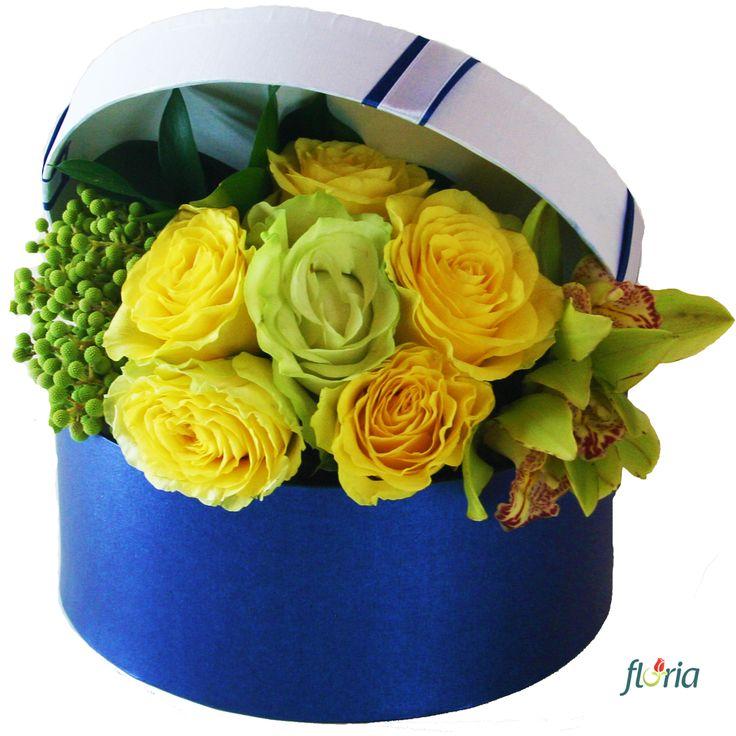 Trimite-i un aranjament floral din 5 trandafiri galbeni, 1 trandafir alb, 2 orhidee cymbidium verzi si 1 fir de brunia si spune-i ca vrei sa o vezi! Nu te va refuza! (pretul include cutia)