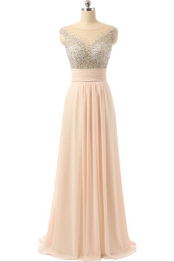 Cap Sleeves Chiffon Empire Waist Beaded Long Prom Dresses ED0960