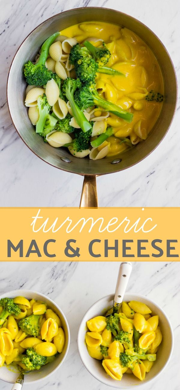 Healthy Mac and Cheese with turmeric, broccoli, and nutritional yeast. Perfect healthier version of macaroni and cheese for toddlers. Kid friendly mac and cheese. Toddler food ideas. Healthy kid food ideas. Healthier mac and cheese for kids. via @dessertfortwo