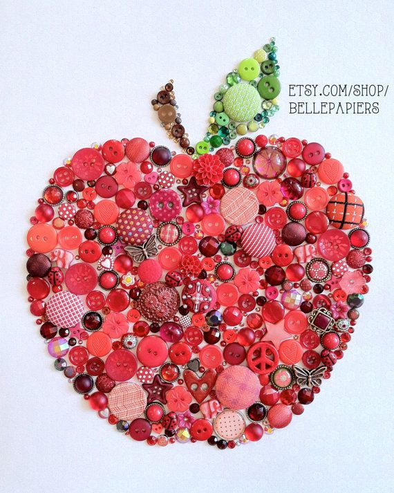 Back to School Button Art Apple for the Teacher Buttons and Swarovski Rhinestones Great Teacher Gift Back to School