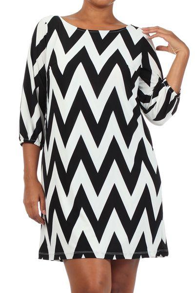 Shop Kami Shade' - Plus Size Chevron Print Coral/Back Long Sleeve Dress, $64.00 (http://www.kamishade.com/haute-plus-size-dresses-more/plus-size-chevron-print-coral-back-long-sleeve-dress/)