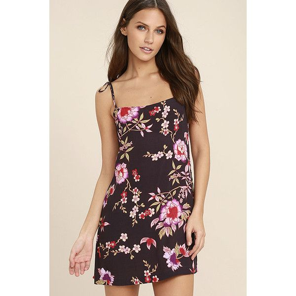 Sugar Town Plum Purple Floral Print Shift Dress ($29) ❤ liked on Polyvore featuring dresses, purple, plum purple dress, purple mini dress, lulus dress, mini dress and floral print shift dress