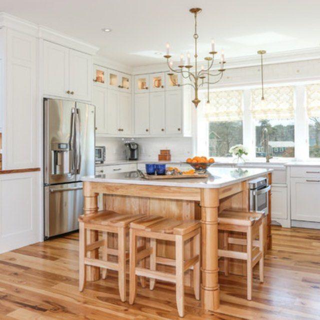 Custom Kitchen With Beautiful Hickory Island Love This Wood Lewisandweldon Home Decor Interiordesign Kitchen Design Cabinetry Hardware Custom Kitchen