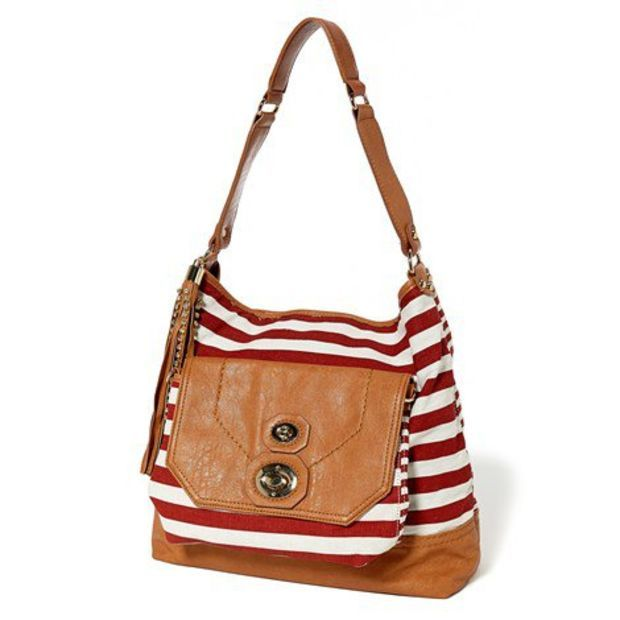Striped Shoulder Bag with Front Pouch 537001344 | Shoulder Bags | Handbags | Handbags Accessories | Burlington Coat Factory
