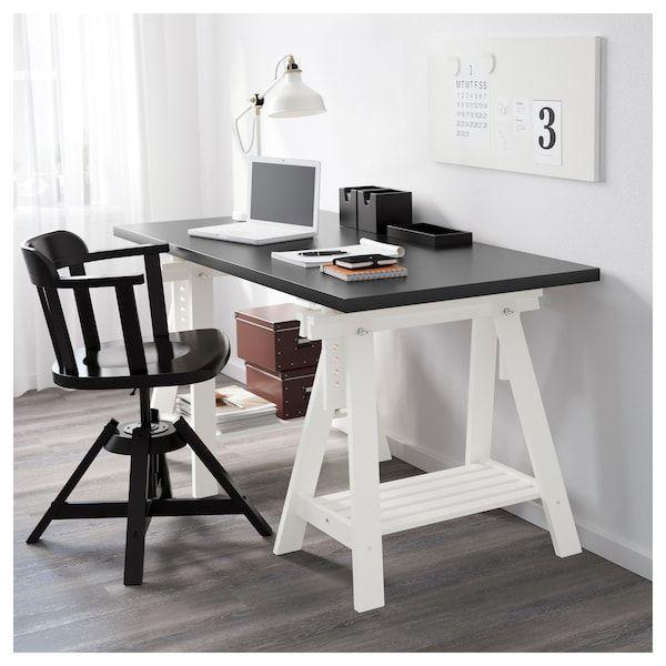 Linnmon Finnvard Table Black Brown White Ikea Tischbock Ikea Buroraumgestaltung