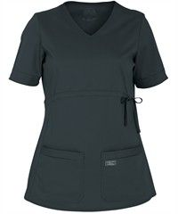 Probably the cutest maternity scrub top we've seen.  Cherokee Workwear Scrubs Premium Core STRETCH Maternity V-Neck Knit Panel Top