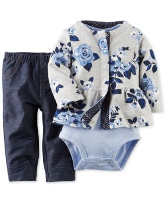 Carter's Baby Girls' 3-Piece Cardigan, Bodysuit & Pants Set 12 mos