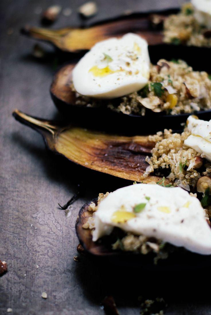 Aubergines grillées, salade de quinoa & burrata