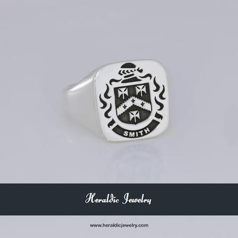 Smith family crest ring silver