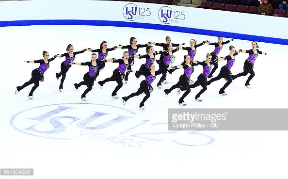 Team Canada 1 perform in the Short Program during the ISU World Junior Synchronized Skating Championships at Hershey Centre on March 10, 2017 in Mississauga, Canada.