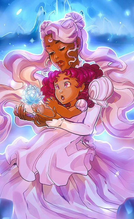 A black Princess Serenity and Chibiusa by asieybarbie