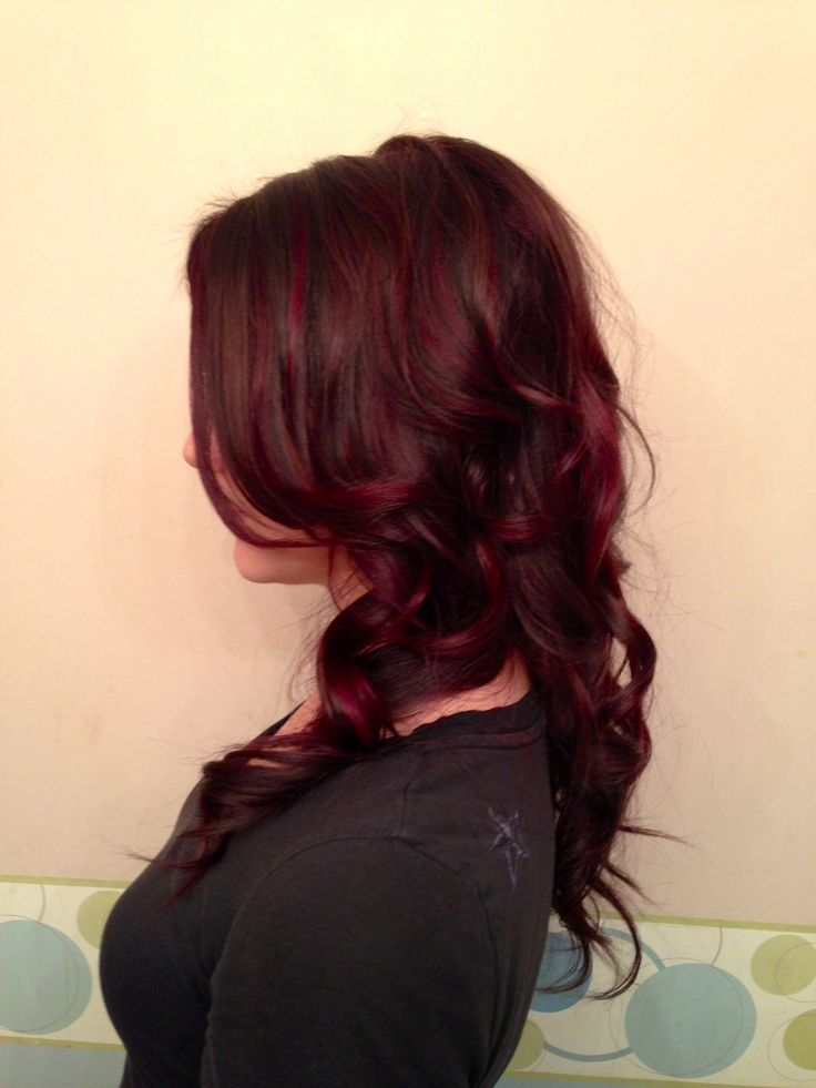 rich dark chocolate and vibrant violet highlights (goldwell hair color)
