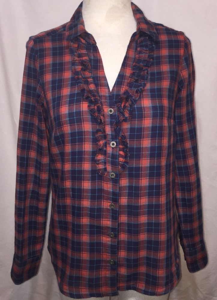 9908df42 RUFF HEWN Womens PM Petite Medium Blue Orange Plaid Ruffle Button Down Shirt  #RuffHewn #Blouse #Casual