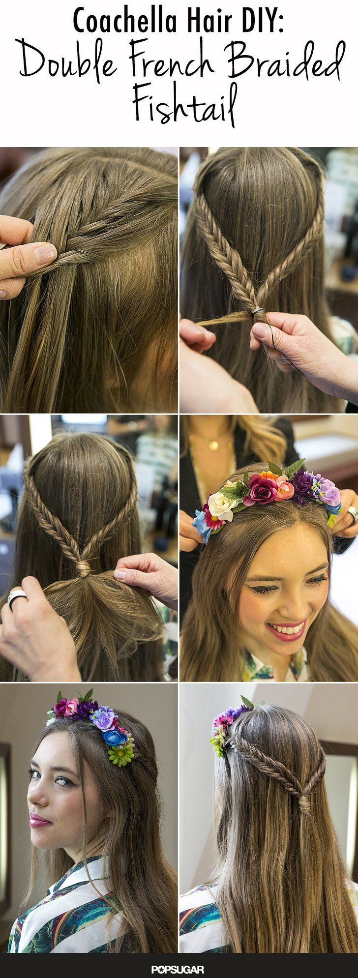 Pin for Later: DIY This Double French Fishtail Plaited Festival Hairstyle