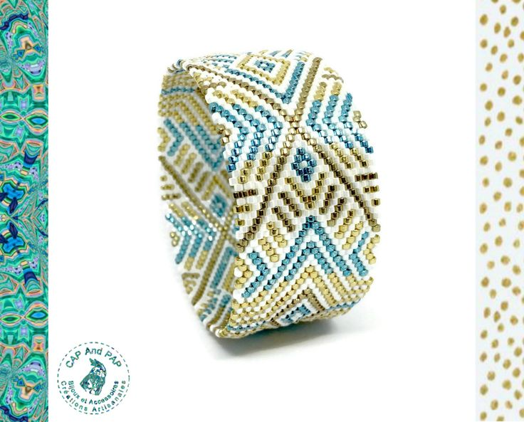 Large Ethnic Bracelet Woven, Blue Gold and White, Egyptian Style, Graphic Cuff, Bangle, Woven Pearls, Women's Christmas Birthday Gift