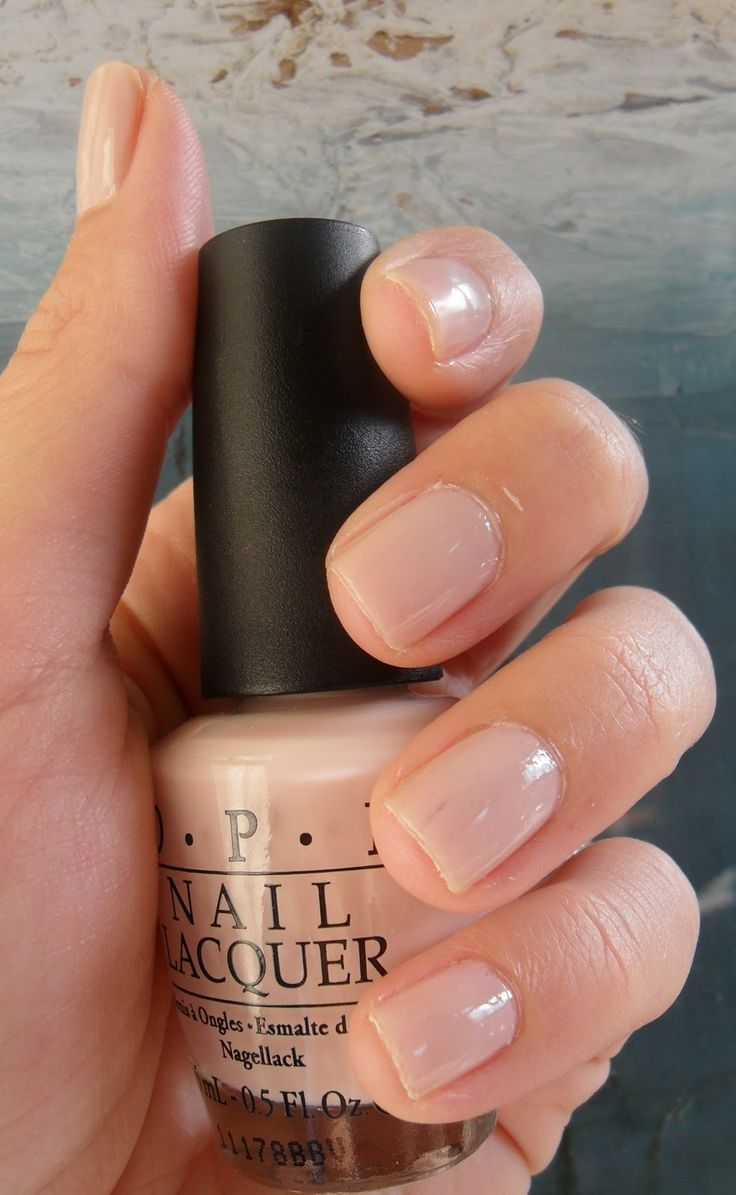"""OPI - Mimosas ---love this for my short nails; its a pretty, neutral color. I might try the """"homemade shellac"""" technique with this color :) wish me luck."""