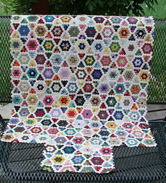Pretty hexagon quilt pattern.