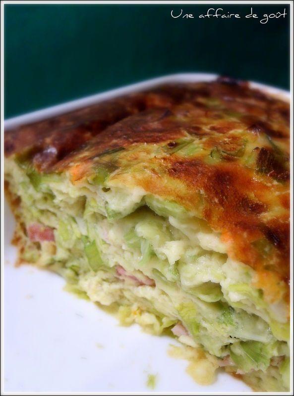 Clafoutis poireaux 1 briquette de 20 cl de lait concentré non sucré 1/2 écrémé (type Gloria) - 2 oeufs - 1 càS de farine - sel, poivre 2 beaux poireaux cuits/ 1 cube de bouillon de légumes - 2 tranches de jambon blanc - 40g d'emmental râpé -cuisson 35' si le dessus du clafoutis dore trop vite, on peut recouvrir le plat d'une feuille d'aluminium et poursuivre la cuisson.