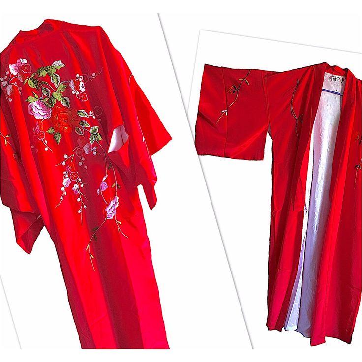 Red Embroidered Kimono womens vintage from Japan floral roses insane details made in hong kong festival robe sweater sale jacket velvet silk by VELVETMETALVINTAGE on Etsy