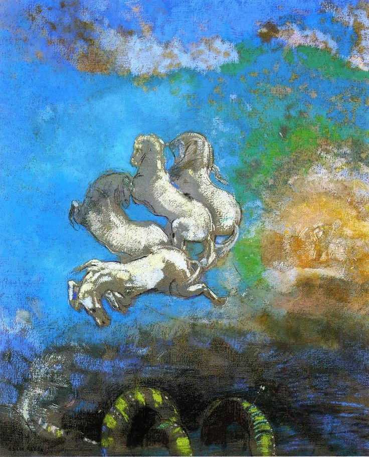 Odilon Redon - Apollo's Chariot, 1905-1914.  Oil with pastel on canvas, Musee d'Orsay, Paris