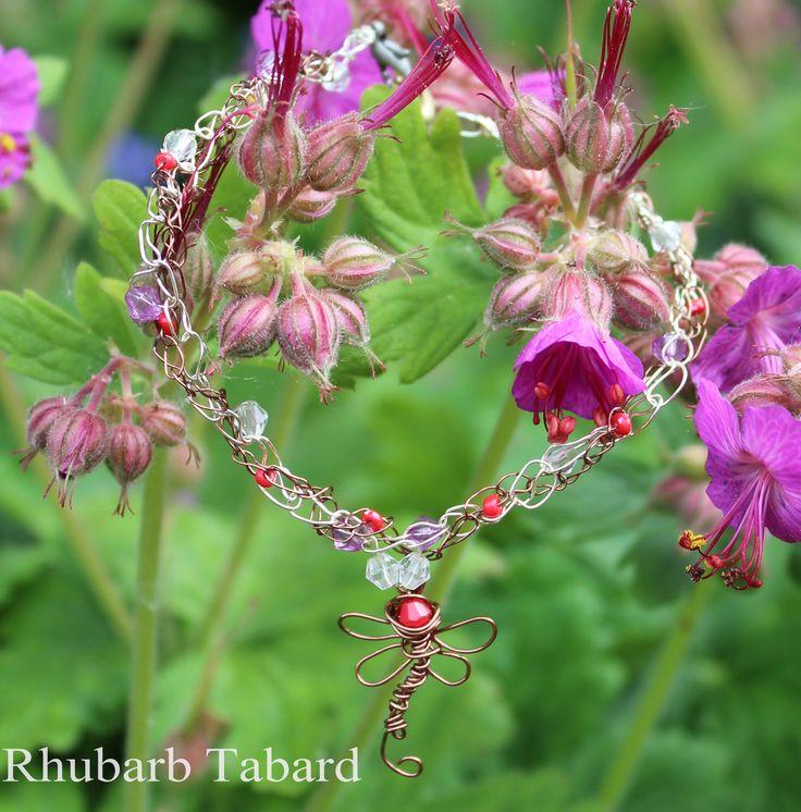 Dragonfly anklet, dragonfly ankle bracelet, beaded anklet, gift for her, crochet jewellery, handmade ankle bracelet by RhubarbTabard on Etsy
