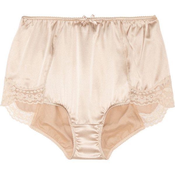 Dolce & Gabbana High-rise stretch-silk satin briefs (7.450 RUB) ❤ liked on Polyvore featuring intimates, panties, underwear, lingerie, undies, dolce & gabbana, beige, high waisted lingerie, satin lingerie and briefs panties