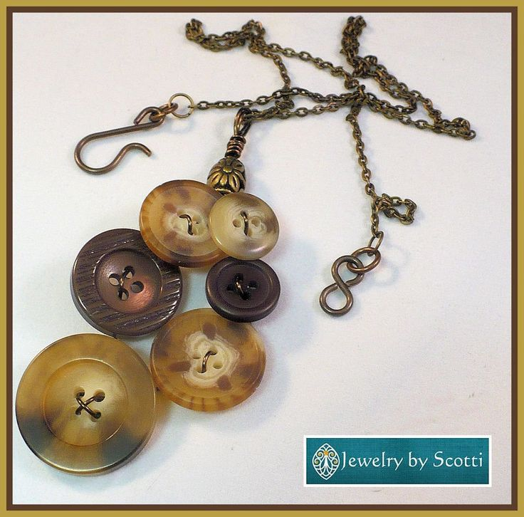 Brown Button Pendant Necklace, Her Brown Necklace, Her Unique Necklace, Her Boho Necklace, Wire Wrapped Buttons, Statement Necklace