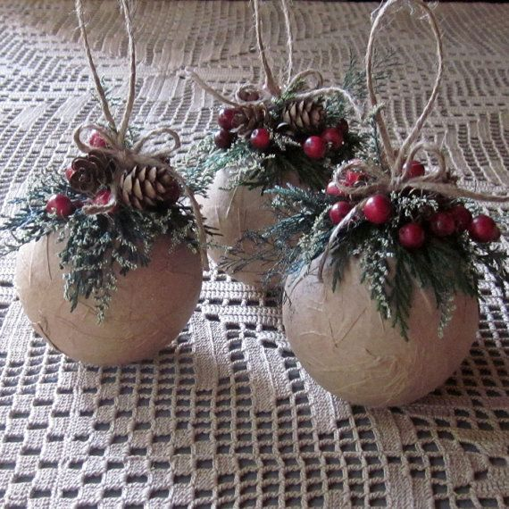 Rustic Ornaments Set of Three Ornaments by InTheBluebellWoods, $18.00 on Etsy - That's crazy!! I saw the round balls at Michaels for $1.68 each! It would be so easy and way cheaper to make these myself!!