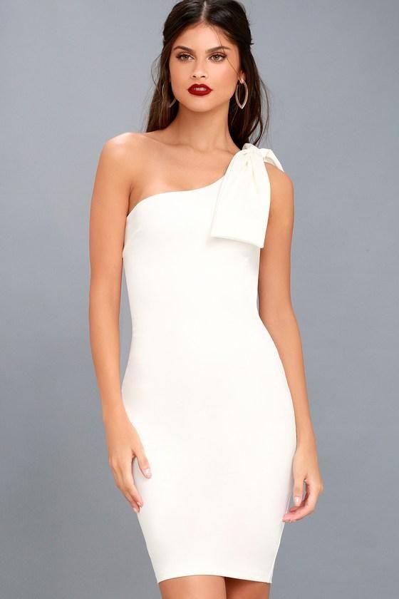 a4dc2de29873 #AdoreWe #Lulus - #Lulus Save a Dance White One-Shoulder Bodycon Dress -  Lulus - AdoreWe.com