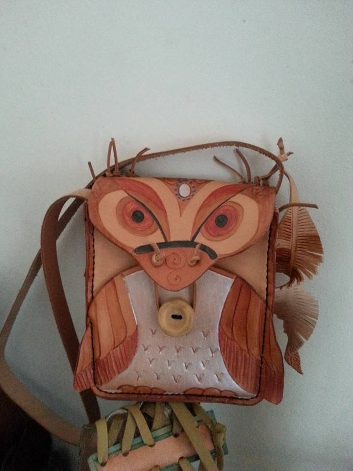Natural Veg Tanned Leather Owl Handbag, handtooled and handpainted with front pocket to stow your treasures