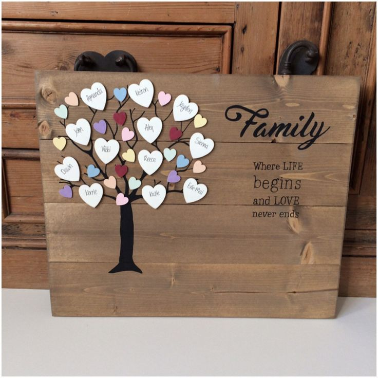 Large Family tree, wooden family tree, family tree gift, rustic, personlised, plaque, custom family tree, our family, Autumn shades by OldPottingShed on Etsy