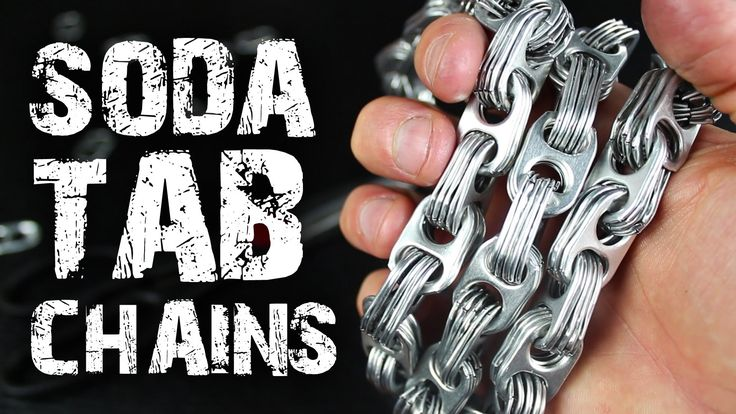 How to make Chains from Soda Can Tabs  Turn your soda can tabs into an awesome aluminum chains!  What you do with them is completely up to you!  Check out http://www.thekingofrandom.com