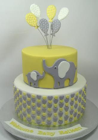 Yellow grey and white mother and baby elephant Baby Shower Cake by www.carryscakes.com.au