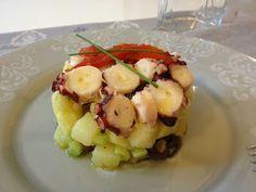 Polpo in insalata di patate, olive taggiasche e sedano bianco