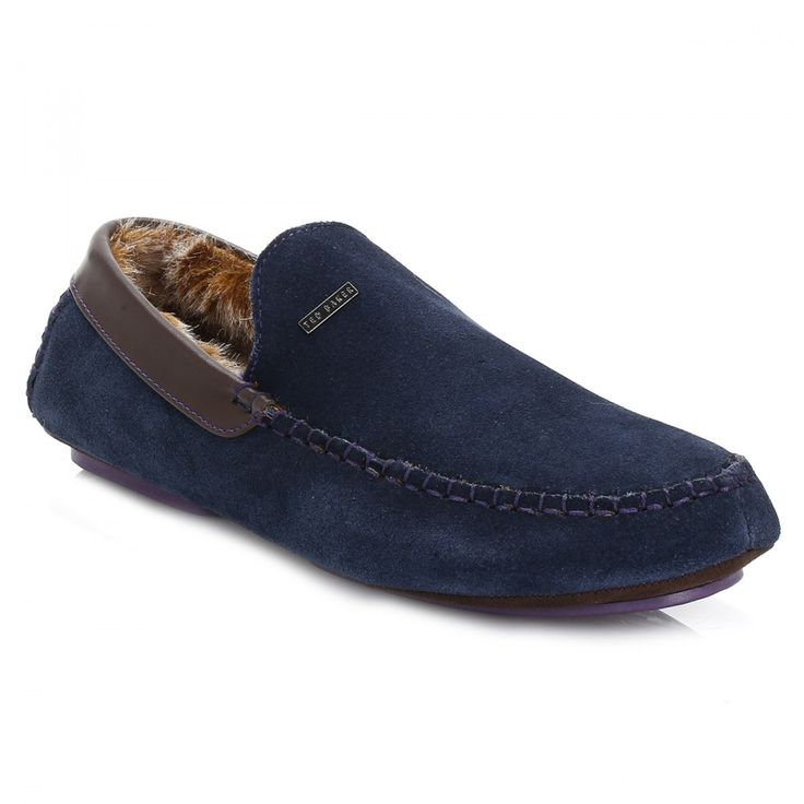 Ted Baker Mens Dark Blue Maddoxx Suede Slippers