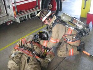 """RIT Drill: """"Rock and Ray"""". Awesome for smaller firefighters when needing to drag a larger firefighter."""