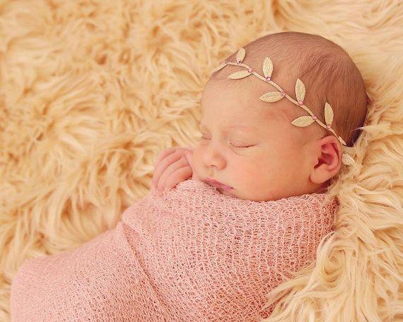 Gold Leaf Headband wrap, Swarovski leaf wrap, Baby girls headband, Toddlers, photo prop, Newborn girls, Hair accessories, infant photo prop