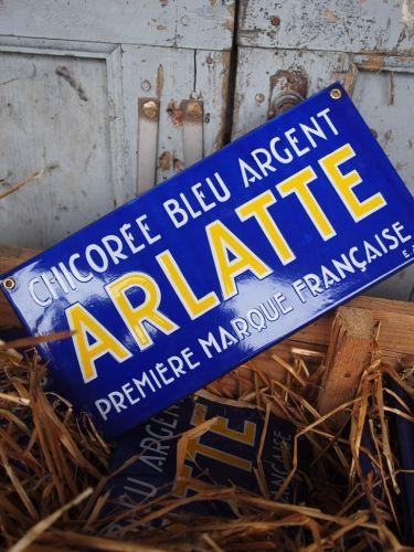 ancienne plaque emaillee publicitaire Arlatte chicorée