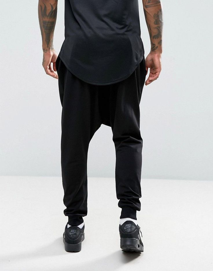 ASOS Extreme Drop Crotch Joggers In Lightweight Jersey - Black