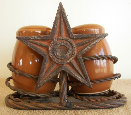 Rustic Western Star Salt And Pepper Shaker Set Dining Table Kitchen Decor