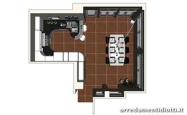 Cucina curva laccata opaca bianca top grigio Ola20 - DIOTTI A&F Arredamenti