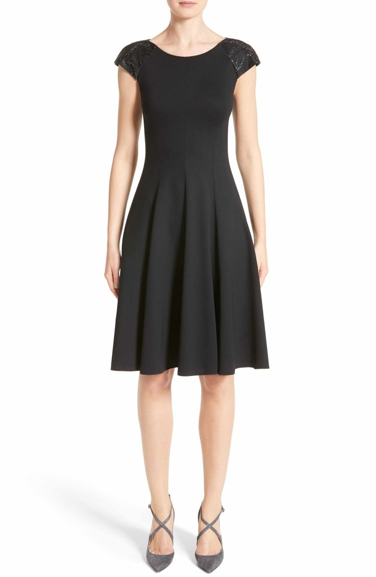 Main Image - Armani Collezioni Embellished Milano Jersey Dress