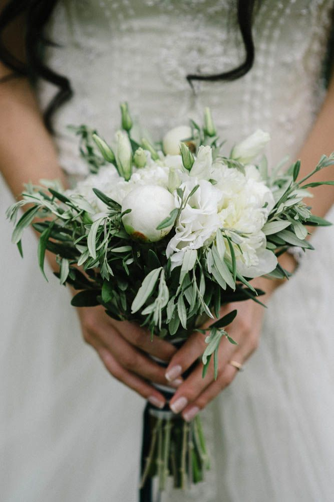 Bouquet For Sicilian Wedding Made Of White Eustomas White Peonies And Branches Of Olive Trees