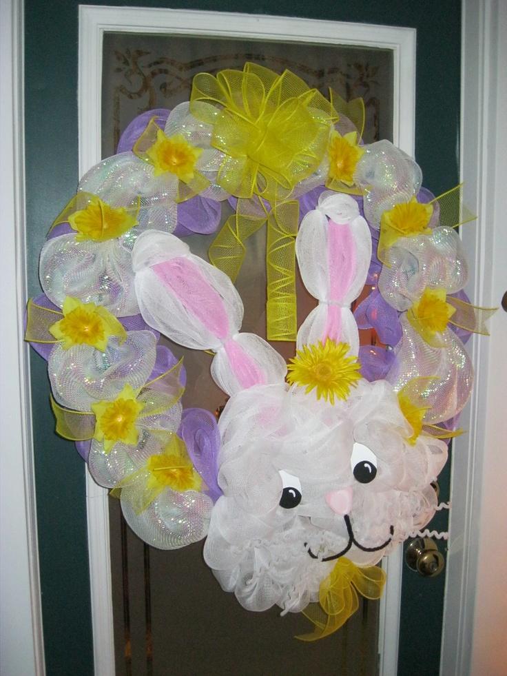 Easter Bunny Mesh Ribbon Wreath