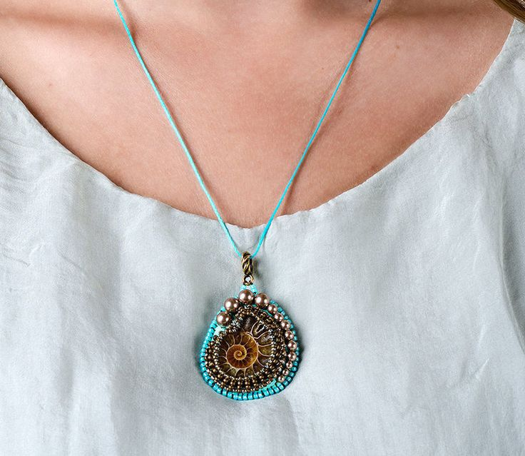 Free shipping Ammonite pendant necklace Gift for woman Unusual gift Mint brown jewelry boho necklace Simple jewelry Embroidered jewelry - pinned by pin4etsy.com