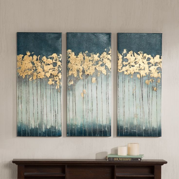 3 Piece Painting Print on Canvas Set at Wayfair.  Try version with eggplant, grey, taupe n white background and silver n gold 'flowers'.